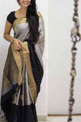 Refreshing Grey And Black Color Soft Silk Designer Sarees - cnd1033
