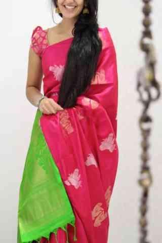 Vibrant  Pink Color Soft Silk Designer Sarees - cnd1036
