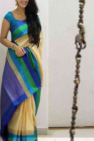 Vibrant  Multi Color Soft Silk Designer Sarees - cnd1037