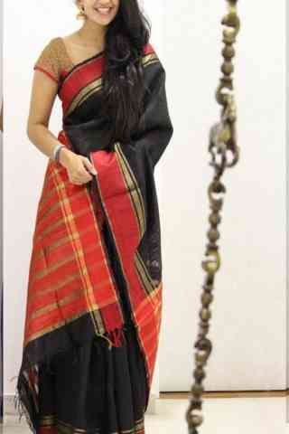 Modish Black Color Soft Silk Designer Sarees - cnd1038