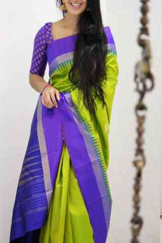 Dashing  Green And Purple Color Soft Silk Designer Sarees - cnd1050