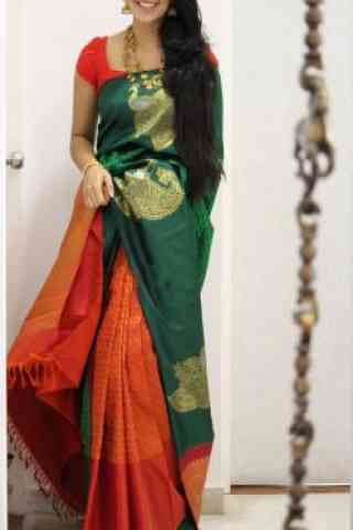 Dashing  Green And Orange Color Soft Silk Designer Sarees - cnd1051