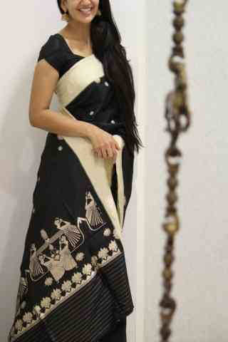Adorning Black Color Soft Silk Designer Sarees - cnd1052