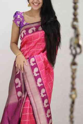 Artistic Pink Color Soft Silk Designer Sarees - cnd1054