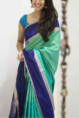 Royal Turquoise Color Soft Silk Designer Sarees - cnd1059