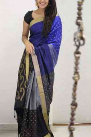 Glorious Black And Blue Color Soft Silk Designer Sarees-cnd1066