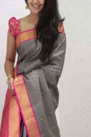 Exclusive Grey Color Soft Silk Designer Sarees-cnd1072