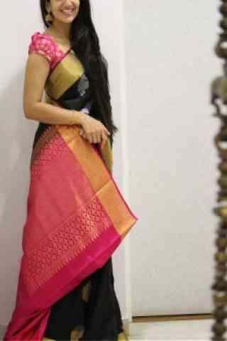 Fashionista Black And Pink Color Soft Silk Saree - cnd1078