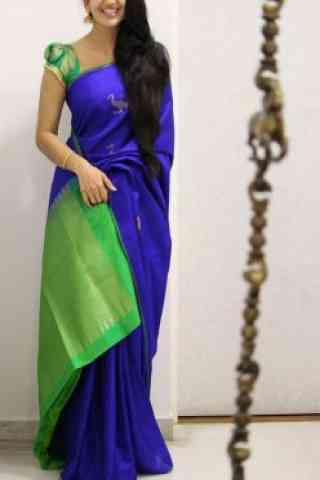 Royal Blue And Green Color Soft Silk Saree - cnd1091