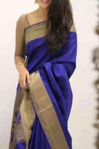Admirable Blue  Color Soft Silk Saree - cnd1094