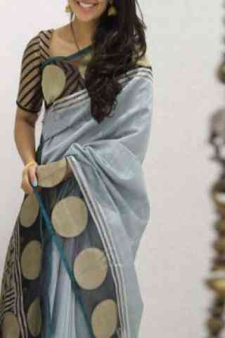 Fashionable  Grey  Color Soft Silk Saree - cnd1098