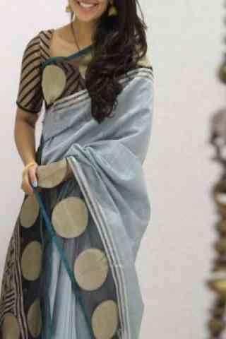 Fashionable  Grey  Color Soft Silk Saree - cnd1098