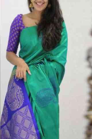 Glammrous Turquoise Color Soft Silk Designer Wear Saree - cnd1103