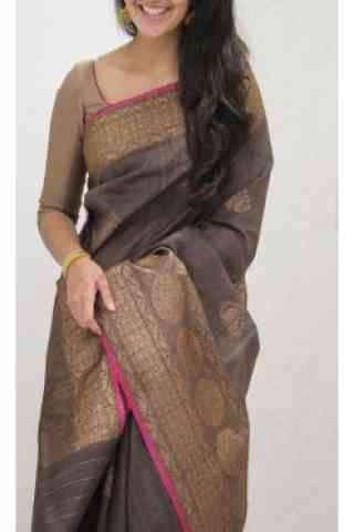 Charming Brown Color Soft Silk Designer Wear Saree - cnd1105