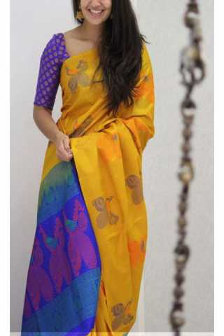 Unique Yellow  Color Soft Silk Saree - cnd1153