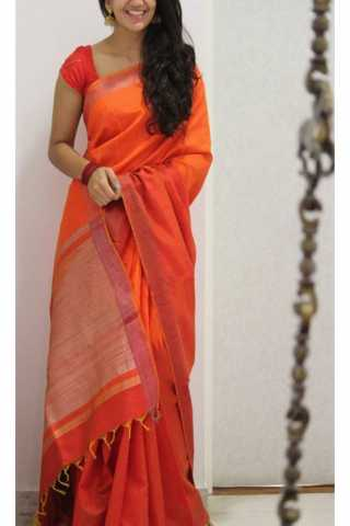 Royal Orange Color Soft Silk Saree - cnd1177