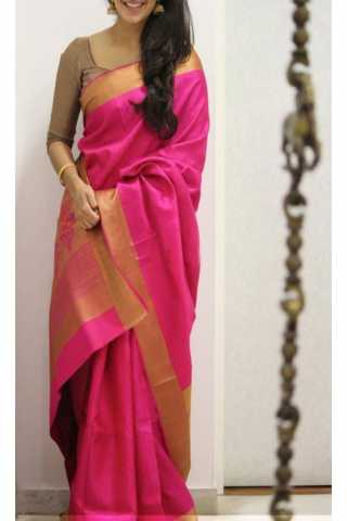 Royal Pink Color Soft Silk Saree - cnd1185