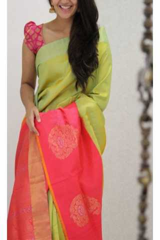 Royal Green N Pink Color Soft Silk Saree - cnd1195