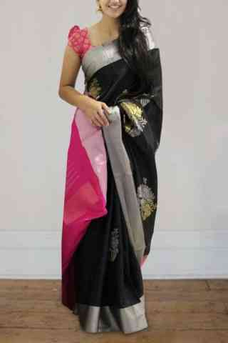 Modern Black Color Soft Silk Saree - cnd595
