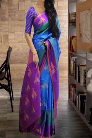 Evergreen Multi Color Soft Silk Saree - cnd597