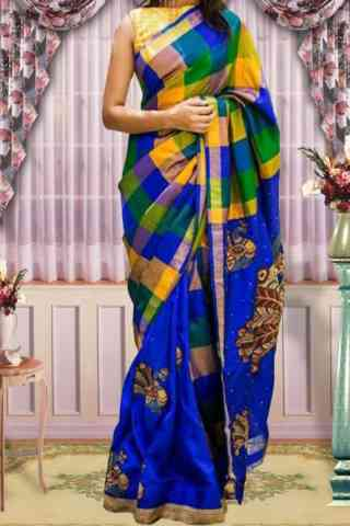 Scintillating  Blue Color Checks Pattern Soft Silk Saree - cnd601