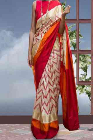 Ultimate Cream Color Pattern Soft Silk Saree - cnd603