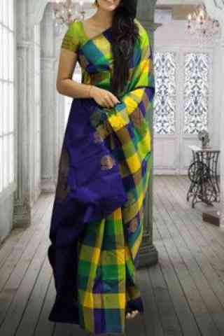 Epitome Green Color Checks Pattern Soft Silk Saree - cnd620