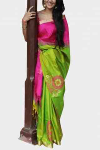 Mind Blowing Pink n Green Color Soft Silk Designer Sarees - cnd623