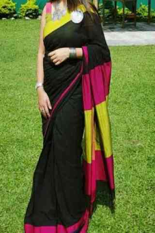 Glorious Black Color Soft Silk Designer Sarees - cnd659