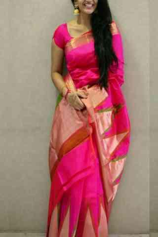 Fashionable Pink Color Soft Silk Designer Sarees - cnd664
