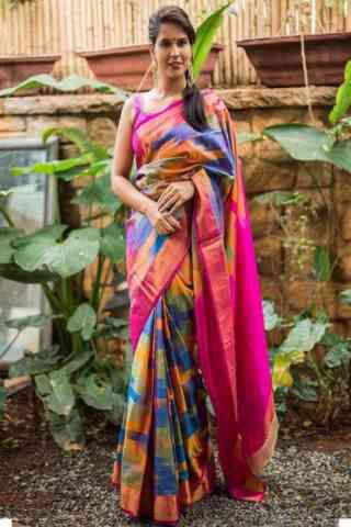 Ultimate  Multi Color Soft Silk Designer Sarees - cnd673