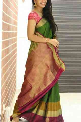 Heavy  Green Color Soft Silk Designer Sarees - cnd678