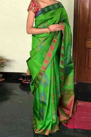Dynammic Green Color Soft Silk Designer Sarees - cnd716
