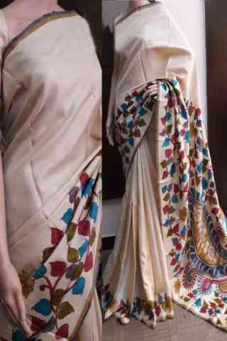 Enriching Cream Color Soft Silk Saree - cnd740