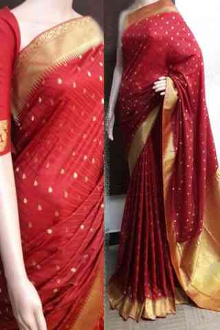 Dynammic Red Color Soft Silk Saree - cnd744