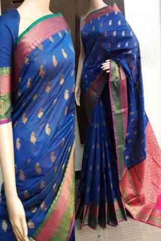 Glammrous Blue Color Soft Silk Saree - cnd746