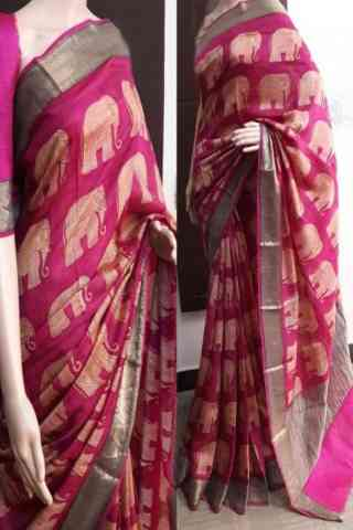 Divine Pink Soft Silk Saree - cnd752