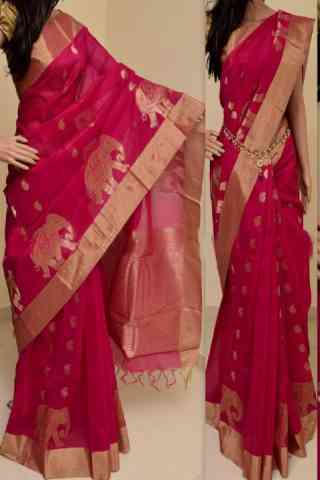 Forever Pink Color Soft Silk Saree - cnd762