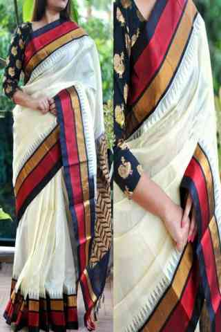 Artistic White Color Soft Silk Saree - cnd767