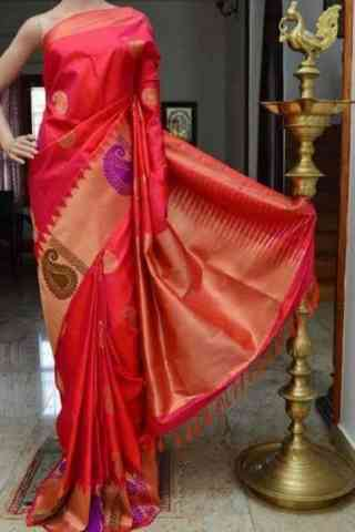 Charming Red Color Soft Silk Designer Sarees - cnd888