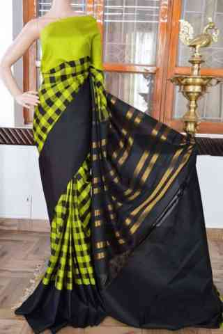 Unique Green n Black Color Soft Silk Saree - cnd901