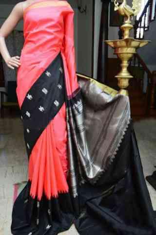 Innovative Pink And Black Color Soft Silk Designer Sarees - cnd932