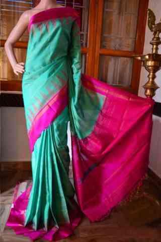 Ethnic Turquoise Color Soft Silk Designer Sarees - cnd933