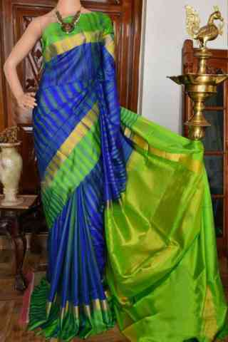 Exquisite Blue And Green Color Soft Silk Designer Sarees - cnd934