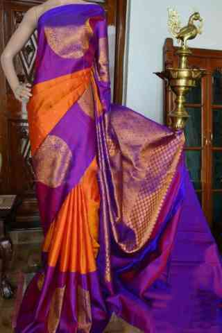Flawless Orange And Purple Color Soft Silk Designer Sarees - cnd943