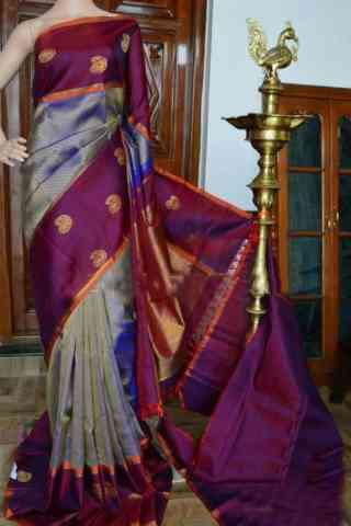 Flawless Grey Color Soft Silk Designer Sarees - cnd946