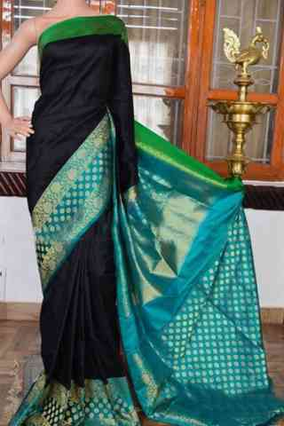 Flawless Black Color Soft Silk Designer Sarees - cnd948