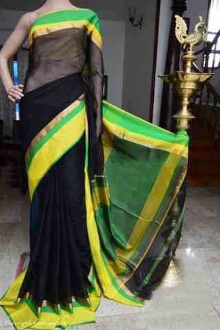 Mind Blowing Black Color Soft Silk Designer Sarees - cnd954