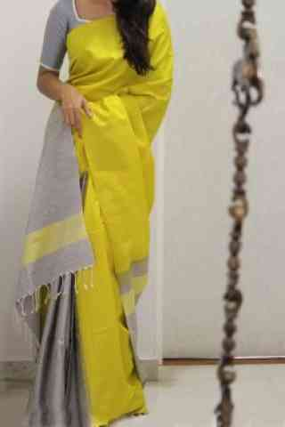 Modern Yellow Color Soft Silk Designer Sarees - cnd960