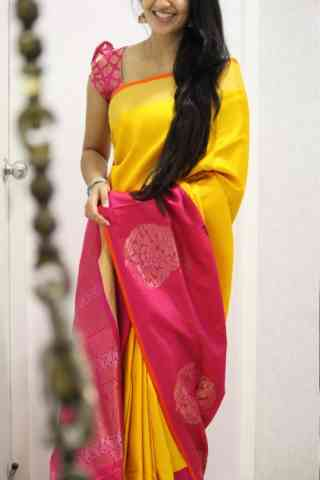 Vivacious Yellow n Pink  Color Soft Silk Saree - cnd965